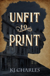 Cover of Unfit to Print: silhouette of black man's face over image of Victorian street of bookshops