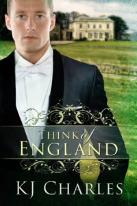 Think of England cover. Worried man in evening dress in front of stately home