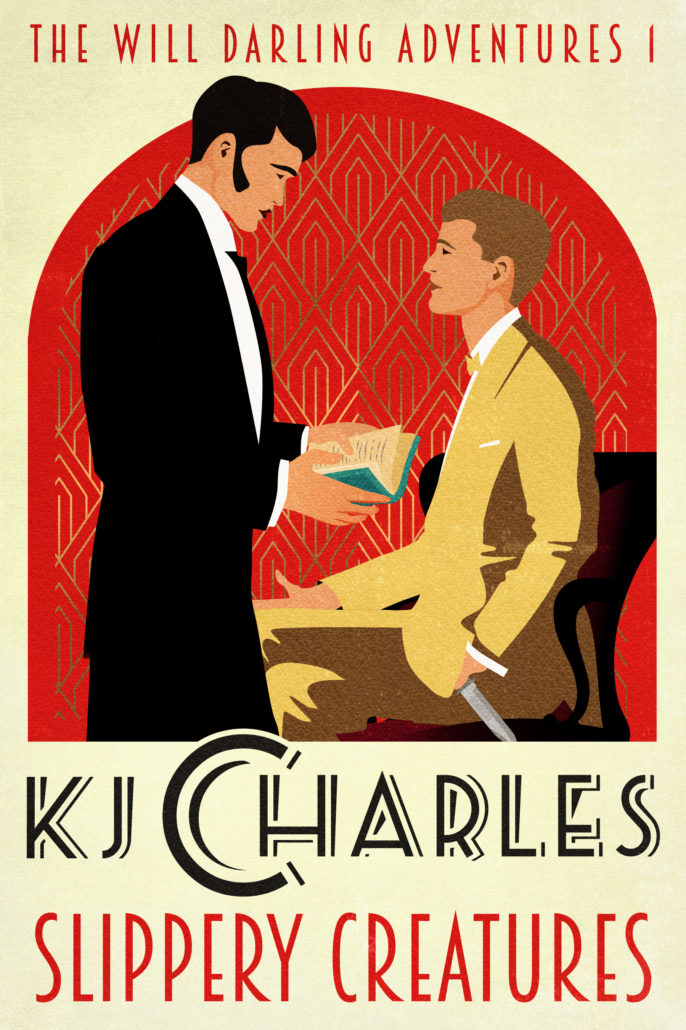 Cover of Slippery Creatures: Kim, dark man in evening dress, standing with book; Will, fair man in casual suit, holding a knife.