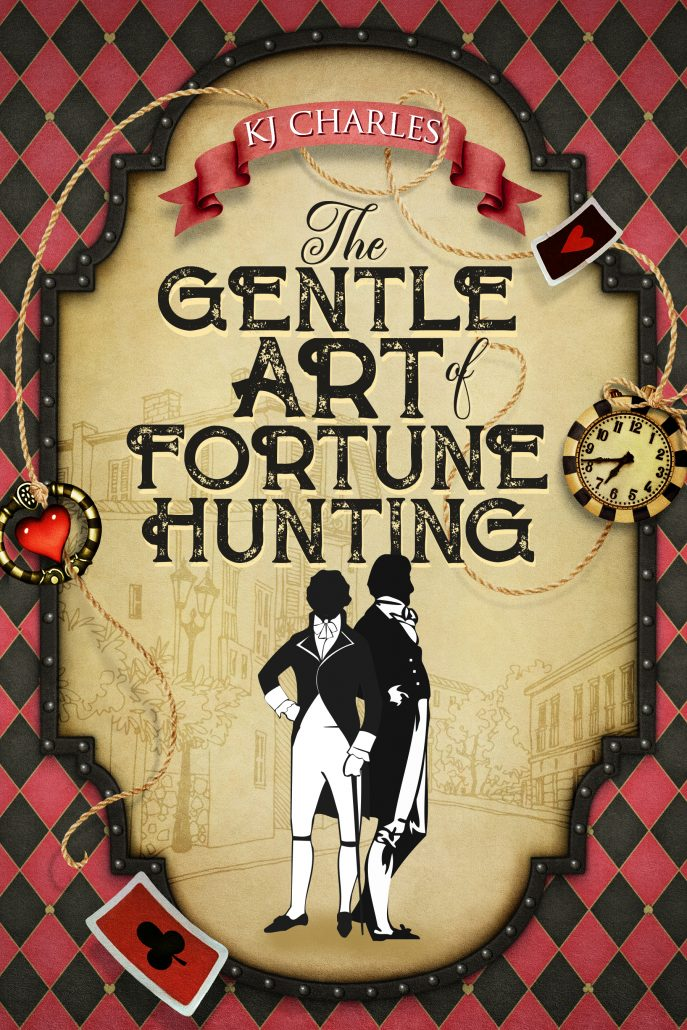 Cover for The Gentle Art of Fortune Hunting. Two Regency gentlemen silhouetted in frame surrounded by cards